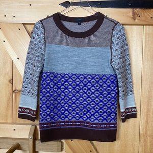 j. crew | fair isle wool sweater blue grey brown